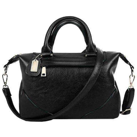 Elegant Solid Color and Stitching Design Women's Tote Bag - BLACK