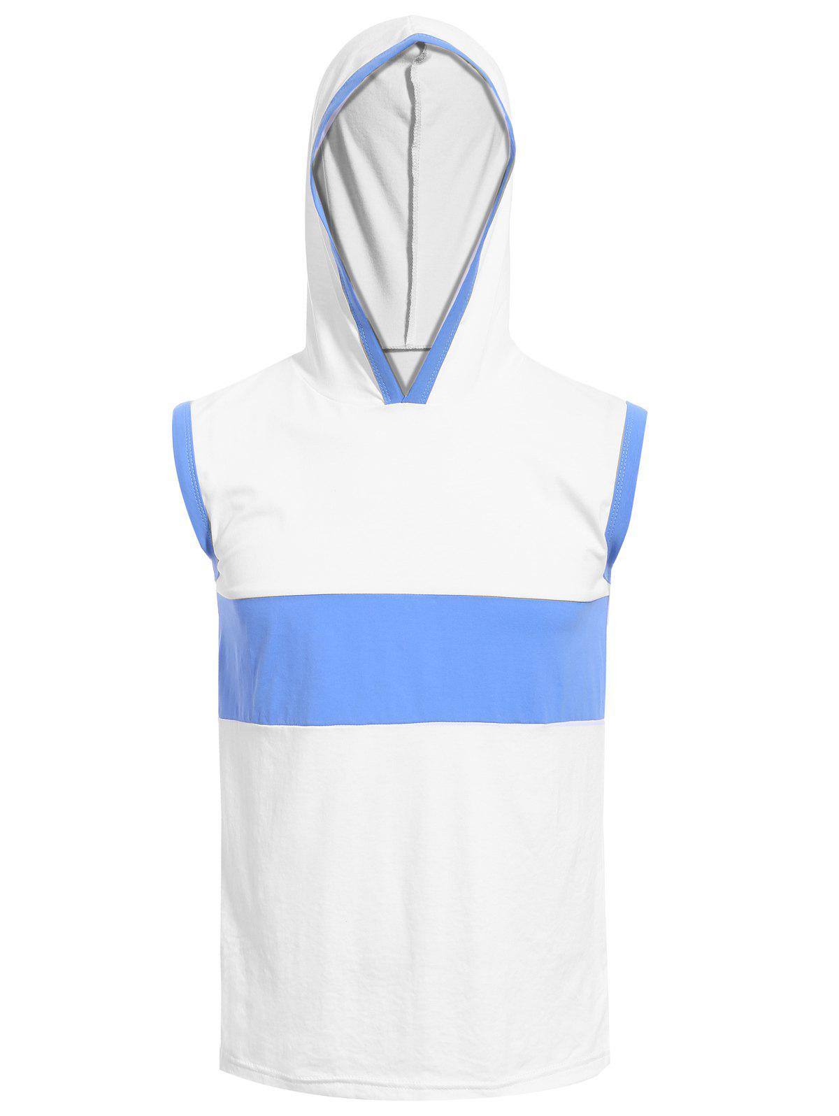 Hooded Color Splicing Men's Tank Top - WHITE 3XL