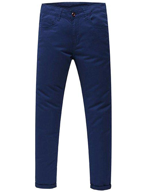 Men's Casual Zip Fly Solid Color Pants - SAPPHIRE BLUE 32