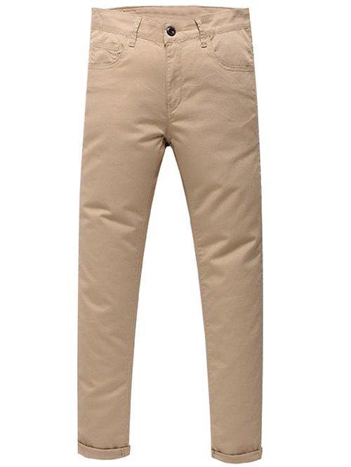 Casual Zip Fly Pantalon de Couleur Unie - Kaki Clair 34