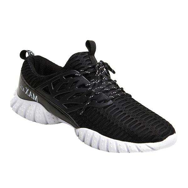 Stylish Lace-Up and Breathable Design Men's Athletic Shoes - BLACK 41