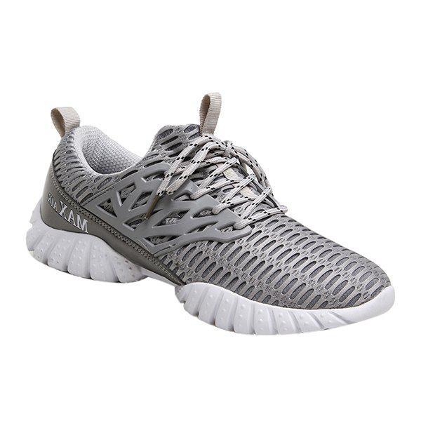 Stylish Lace-Up and Breathable Design Men's Athletic Shoes - GRAY 42