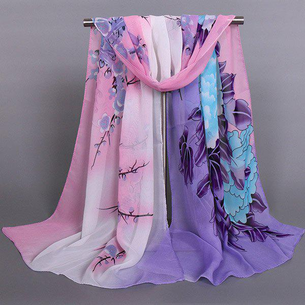 Chic Blooming Peony Wintersweet and Bird Pattern Women's Chiffon Scarf - PURPLE