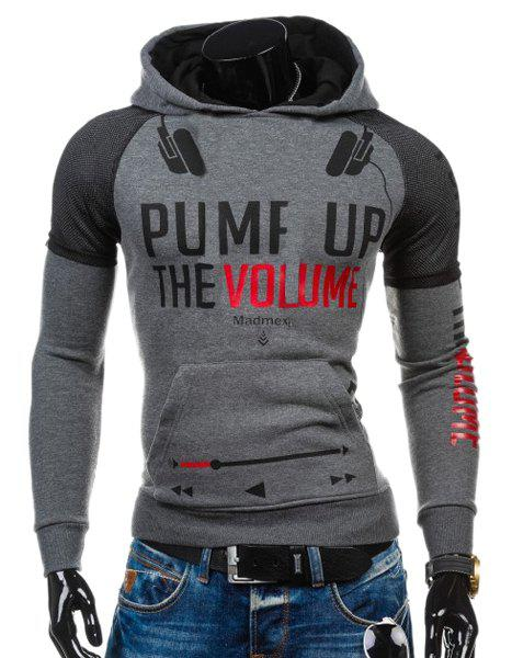 Volie Spliced Letters Print Front Pocket Hooded Long Sleeves Men's Hoodie - DEEP GRAY 2XL