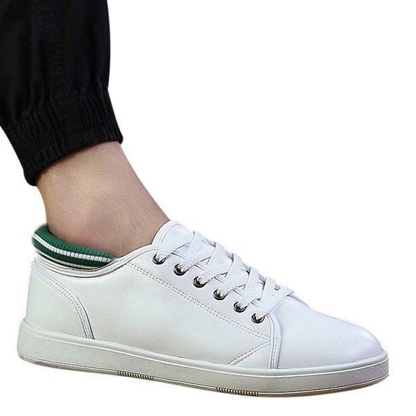 Stylish Splicing and Color Matching Design Men's Casual Shoes - WHITE/GREEN 43
