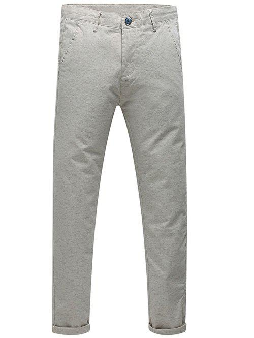 Men's Casual Mid-Rised Zip Fly Solid Color Pants - KHAKI 31