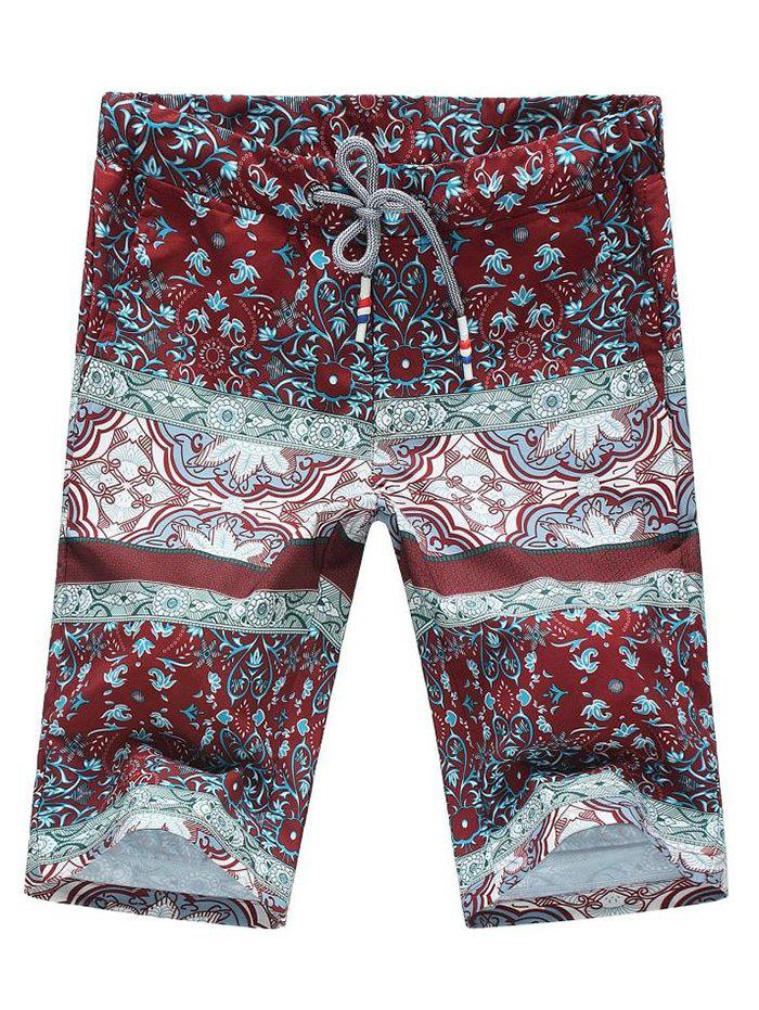 Floral Print Splicing Design Plus Size Lace-Up Straight Leg Men's Shorts - RED M