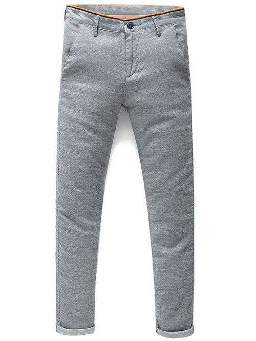 Men's Fashion Mid-Rised Zip Fly Solid Color Pants - GRAY 31