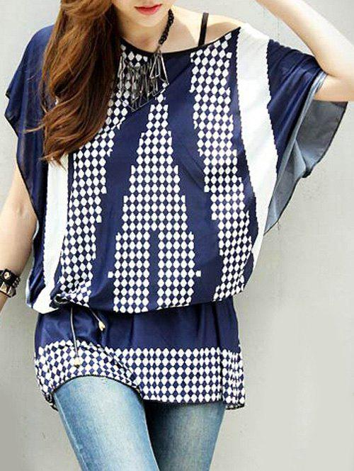 Stylish Batwing Sleeve Geometry Print Loose-Fitting T-Shirt For Women - BLUE ONE SIZE(FIT SIZE XS TO M)