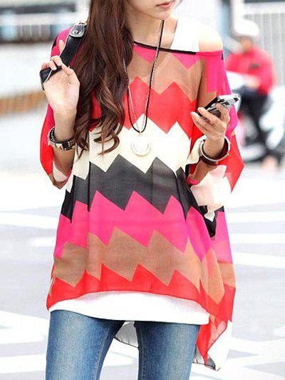 Chic Women's Round Neck Zig Zag Print Tee - COLORMIX L