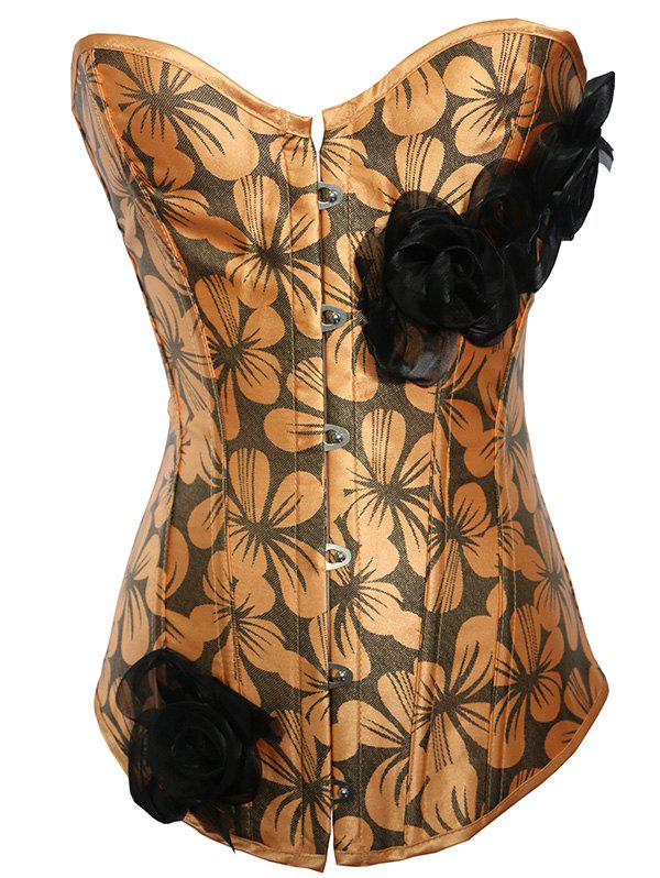 Stylish Women's Floral Print Spliced Tie-Up Corset - YELLOW M