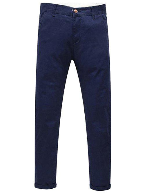Stylish Mid-Rised Zip Fly Solid Color Men's Pants - CADETBLUE 31