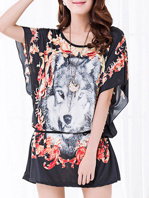 Casual Floral Print Wolf Pattern Loose-Fitting Belted T-Shirt For Women
