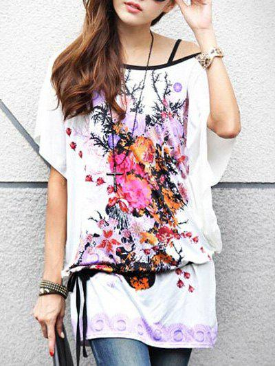 Casual Floral Print Loose-Fitting Belted T-Shirt For Women - WHITE ONE SIZE(FIT SIZE XS TO M)