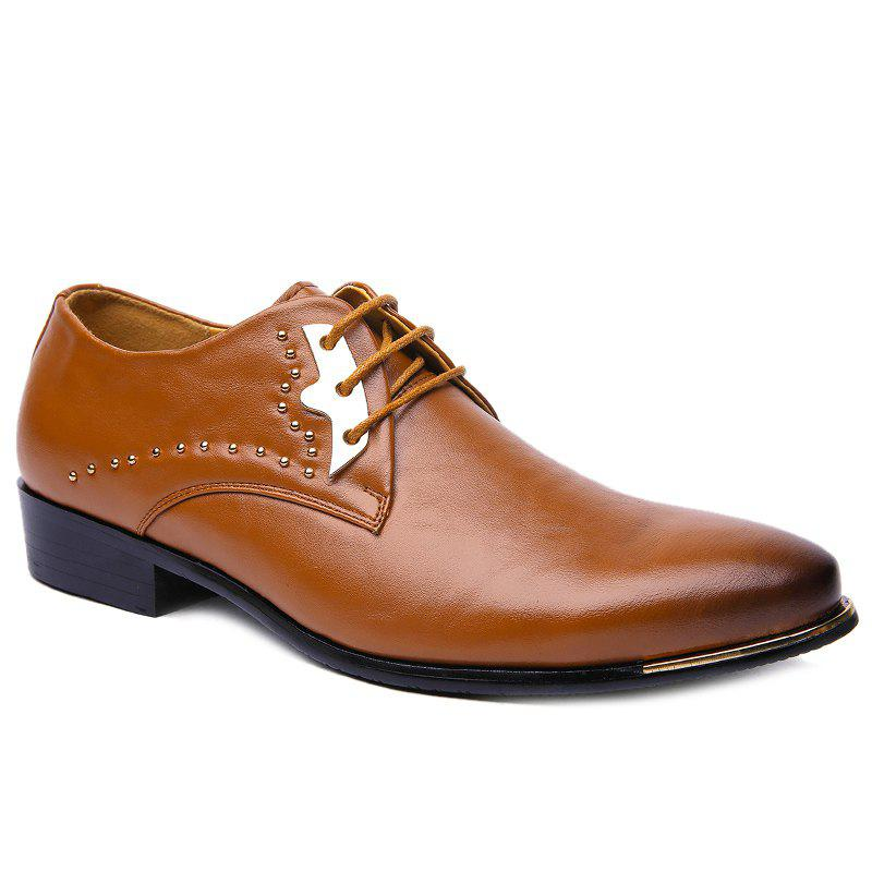 Trendy Rivet and Lace-Up Design Men's Formal Shoes - BROWN 38