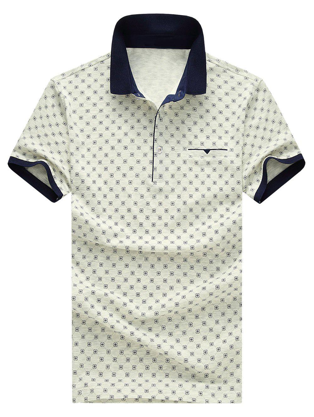 Men's Turn-down Collar Printed Short Sleeves Polo T-Shirt - LIGHT GRAY XL