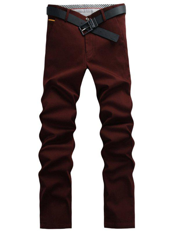 Fashion Solid Color Pants For Men - WINE RED 31