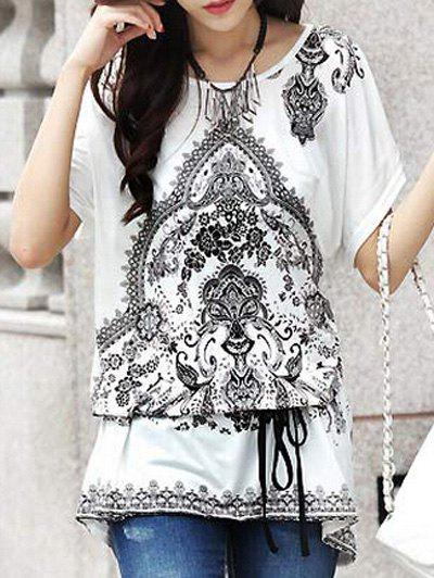 Ethnic Style Tribal Print Loose-Fitting Belted T-Shirt For Women - WHITE ONE SIZE(FIT SIZE XS TO M)