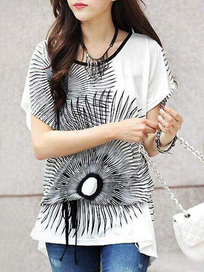 Ethnic Style Printed Loose-Fitting Belted T-Shirt For Women - WHITE ONE SIZE(FIT SIZE XS TO M)