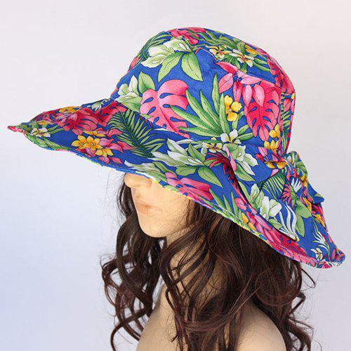Chic Tropical Plant Pattern Big Bowknot Women's Sun Hat - BLUE