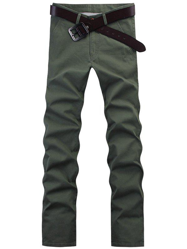 Fashion Straight Leg Solid Color Pants For Men - ARMY GREEN 34