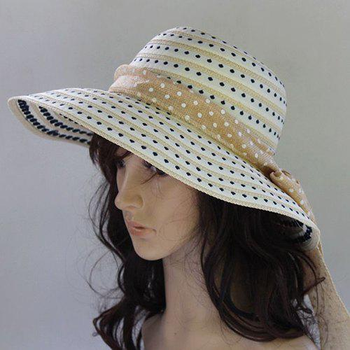 Chic Lace-Up Polka Dot and Stripe Cool Summer Women's Straw Hat - OFF WHITE