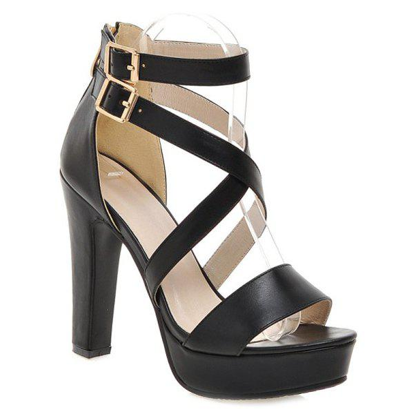 Stylish Double Buckle and Cross Straps Design Women's Sandals - BLACK 36