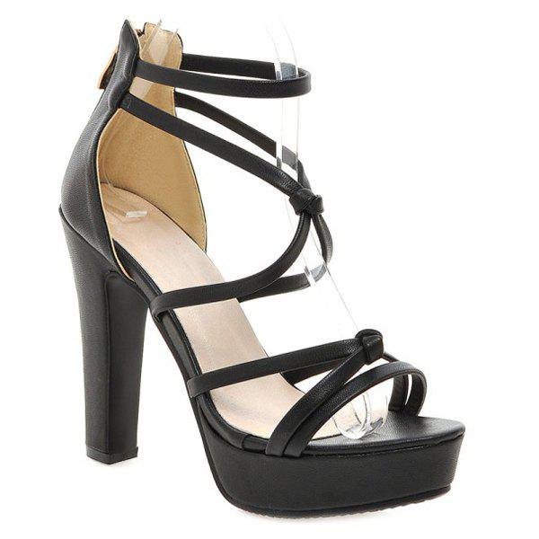 Fashionable Platform and Zip Design Women's Sandals - BLACK 34