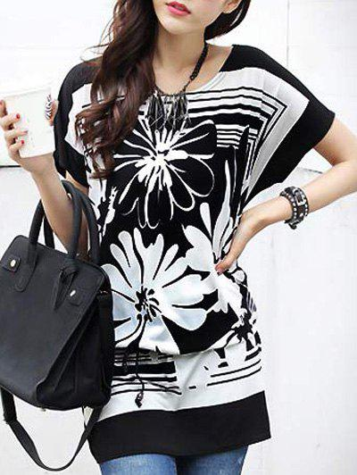 Casual Floral Printed Loose-Fitting Belted T-Shirt For Women - BLACK ONE SIZE(FIT SIZE XS TO M)