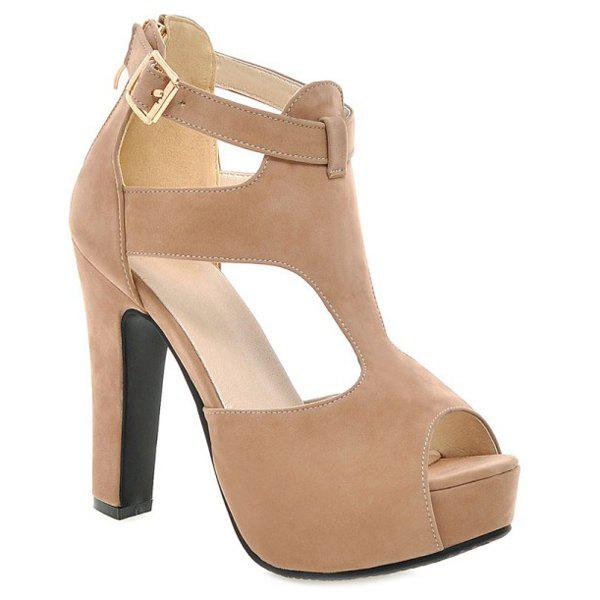 Stylish Suede and T-Strap Design Women's Sandals - APRICOT 36