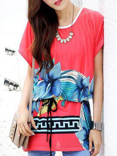 Casual Loose-Fitting Floral Printed Belted T-Shirt For Women - RED ONE SIZE(FIT SIZE XS TO M)