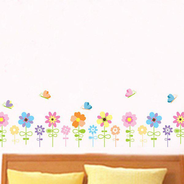 Sweet Cartoon Sunflowers and Butterfly Pattern Removeable Wall Stickers