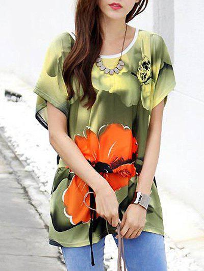 Fashionable Floral Print Loose-Fitting Belted T-Shirt For Women - COLORMIX ONE SIZE(FIT SIZE XS TO M)