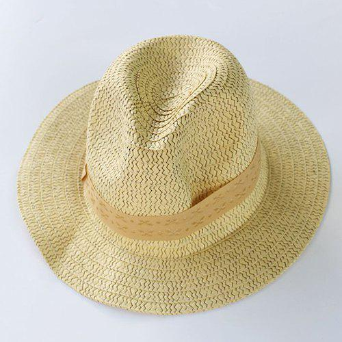 Stylish Lace-Up Cool Summer Men's Weaving Straw Hat - LIGHT YELLOW