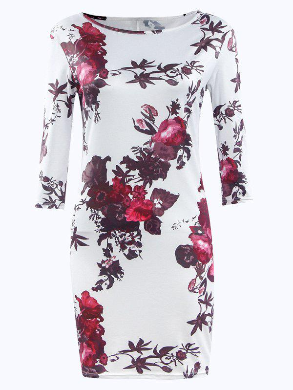 Fashionable 3/4 Sleeve Floral Print Jewel Neck Dress For Women - WHITE S
