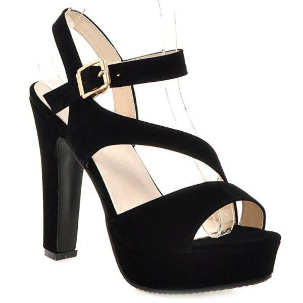 Trendy Platform and Suede Design Women's Sandals - BLACK 34