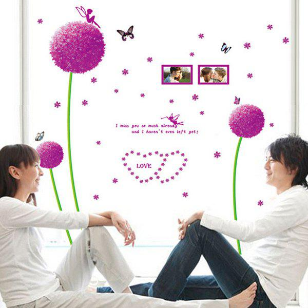 Chic Quality Dandelion Flowers Pattern Removeable Wall Stickers - PURPLE