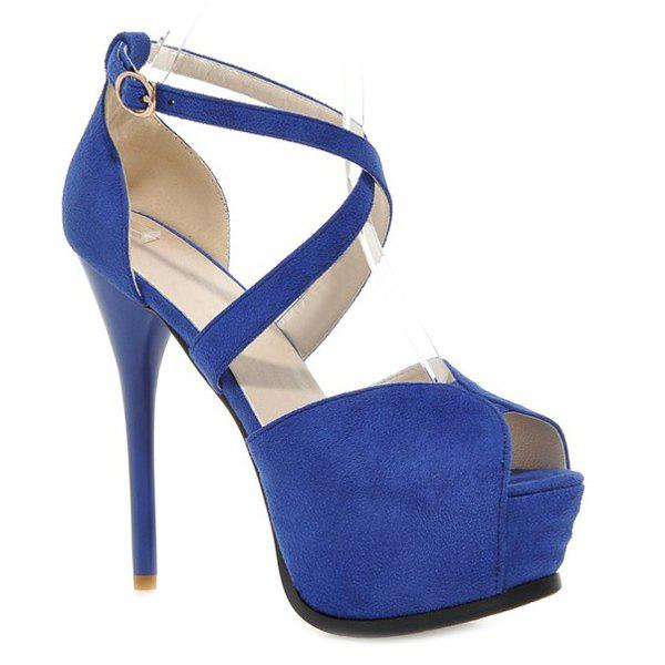 Stylish Stiletto Heel and Cross Straps Design Women's Peep Toe Shoes - BLUE 37