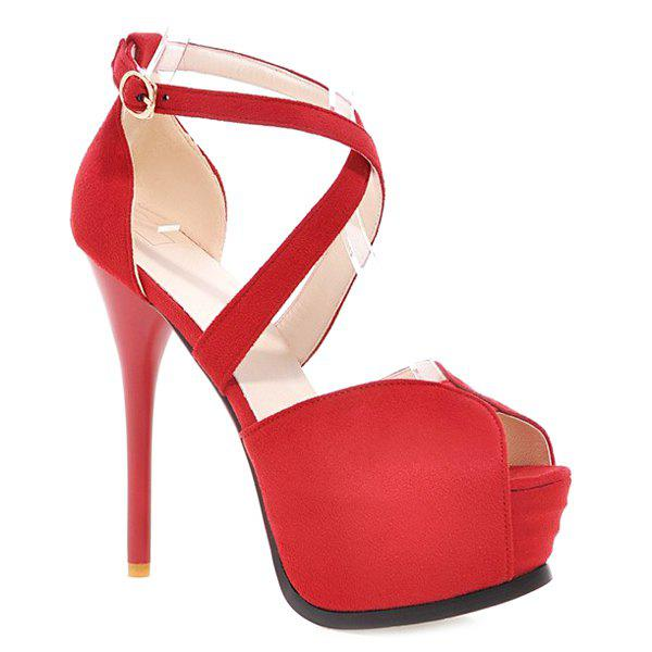 Stylish Stiletto Heel and Cross Straps Design Women's Peep Toe Shoes - RED 38