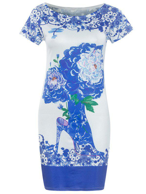 Fashionable Blue and White Porcelain Round Neck Short Sleeve Dress For Women - WHITE S