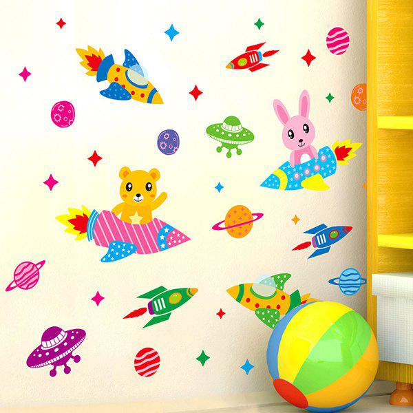 Stylish Cartoon Spaceship Pattern Removeable Wall Stickers - COLORMIX