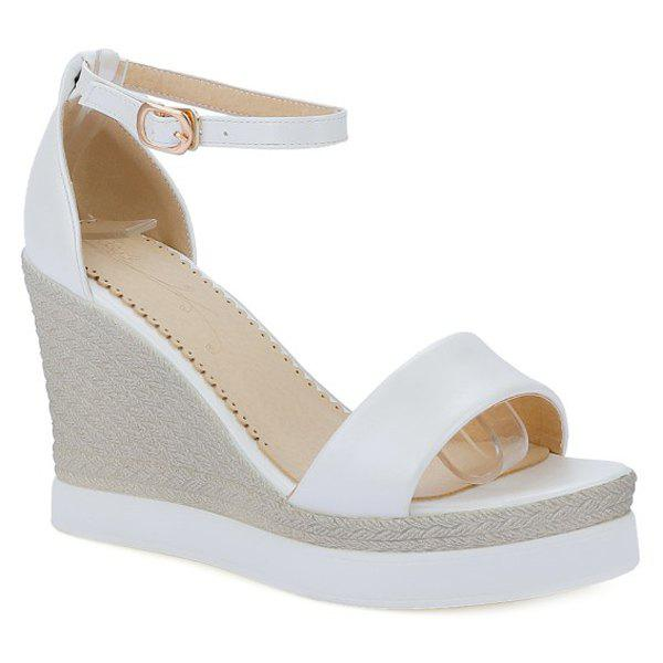 Sweet Ankle Strap and Platform Design Women's Sandals - WHITE 35