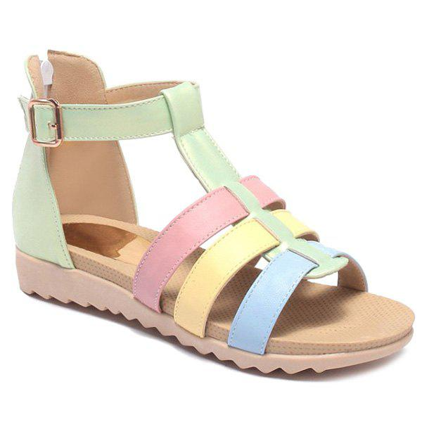 Sweet Color Block and Strap Design Women's Sandals - GREEN 38