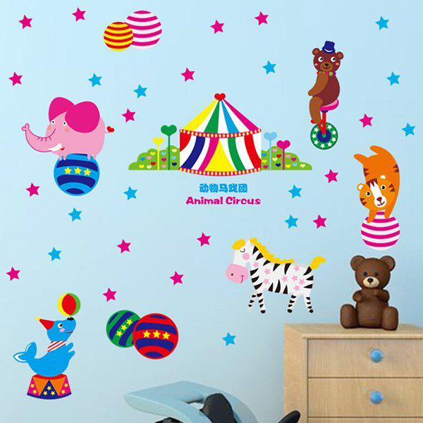 Fashion Cartoon Animal Circus Pattern Removeable Wall Stickers