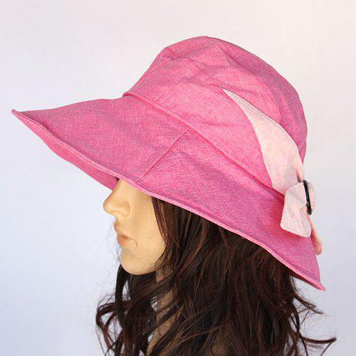 Chic Bowknot Solid Color Sun-Resistant Women's Sun Hat - RED