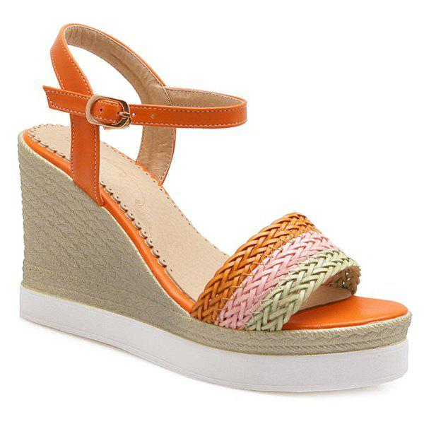 Ladylike Colour Block and Weaving Design Women's Sandals - ORANGE 38