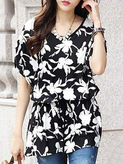 Fashionable Floral Print Loose-Fitting Short Sleeve Belted T-Shirt For Women - BLACK ONE SIZE(FIT SIZE XS TO M)