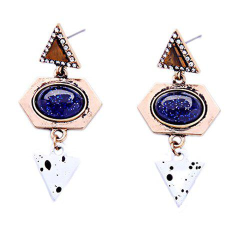 Pair of Triangle Faux Gem Geometric Earrings - GOLDEN