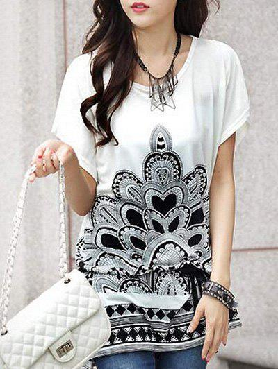 Fashionable Floral Print Loose-Fitting Short Sleeve T-Shirt For Women - WHITE ONE SIZE(FIT SIZE XS TO M)