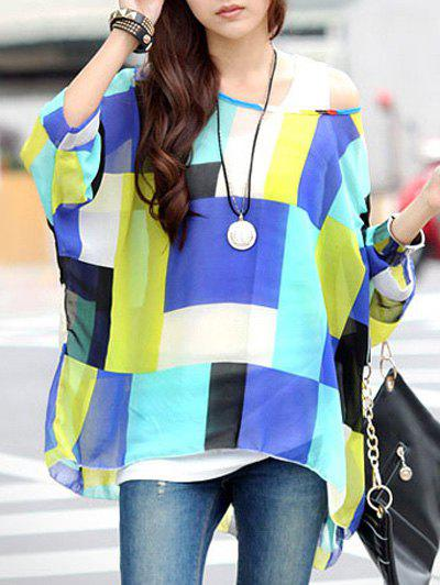 Fashionable Plaid Color Block Loose-Fitting T-Shirt For Women